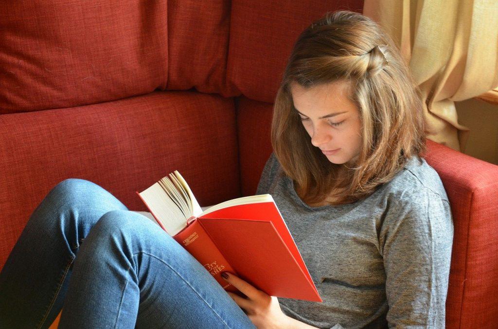 read, book, girl